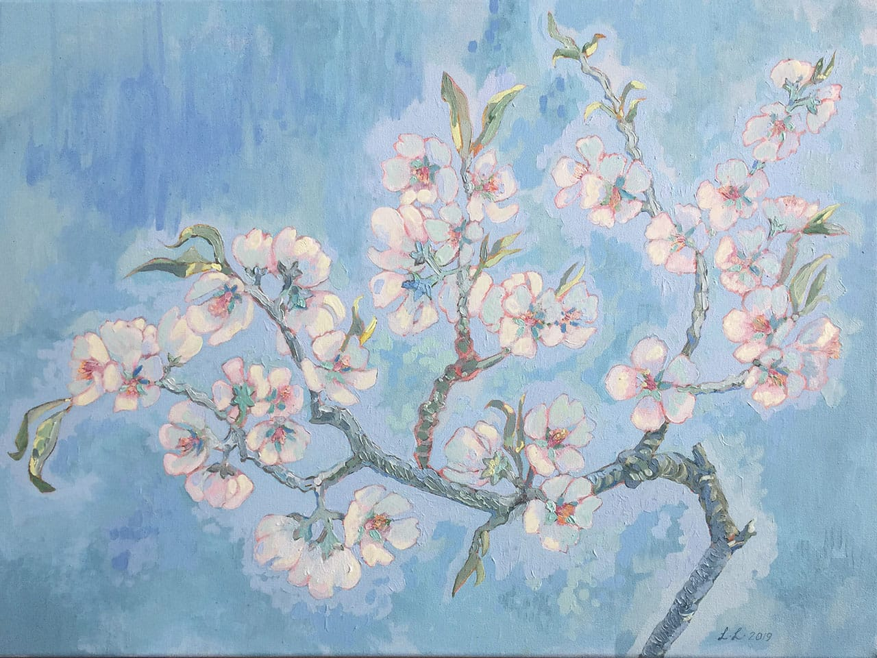 Almond Blossoms, oil on canvas, 18x24inches