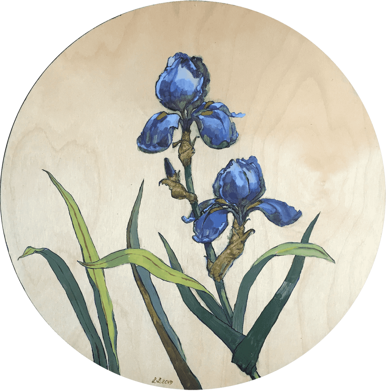 Blue-Irises-oil-on-wood-18-inches-diameter