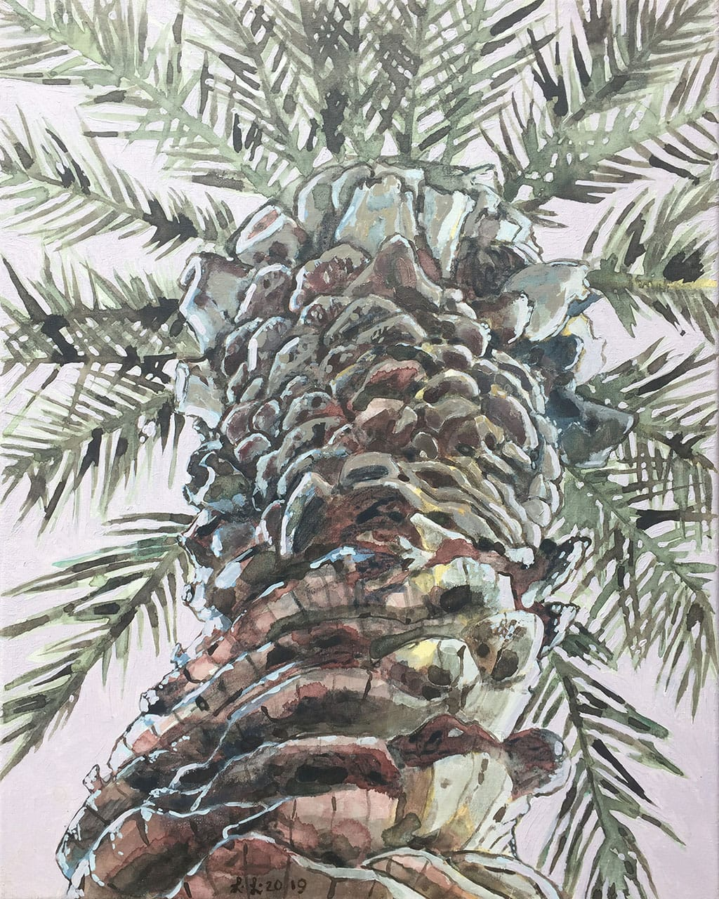 Palm Trunk, oil on canvas, 20x16inches