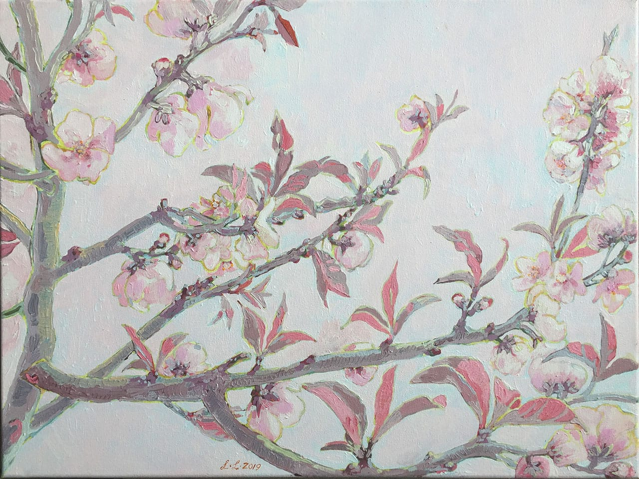 Prune Blossoms, oil on canvas, 18x24inches